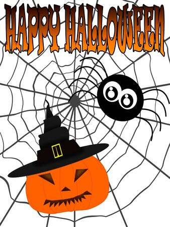Illustration. Inscription Happy Halloween with spider on cobweb and carved pumpkin in witch hat. Foto de archivo - 129895991