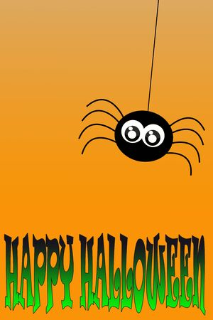 Illustration. Spider hanging on a thread over green-black inscription: Happy Halloween with orange gradient background. Foto de archivo - 129895992
