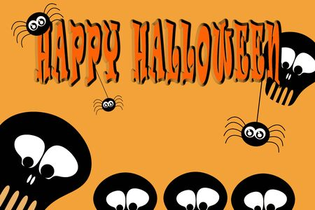 Illustration. Inscription: Happy Halloween with hanging spiders and black stylized skulls on light orange background. Foto de archivo - 129895993