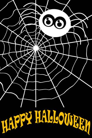 Illustration. Yellow text: Happy Halloween with white spider on white spider net with black background.
