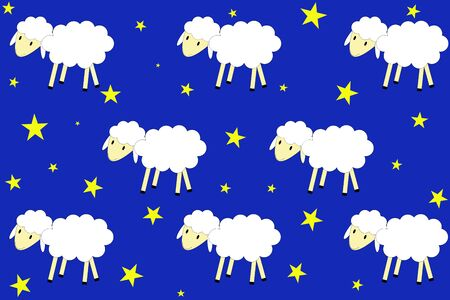 Illustrated seamless pattern. A flock of sheep walks in a night sky full of stars.