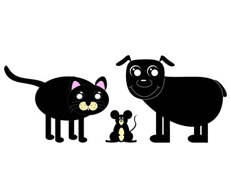 Kawaii illustration. Dog, cat and mouse isolated on white background.
