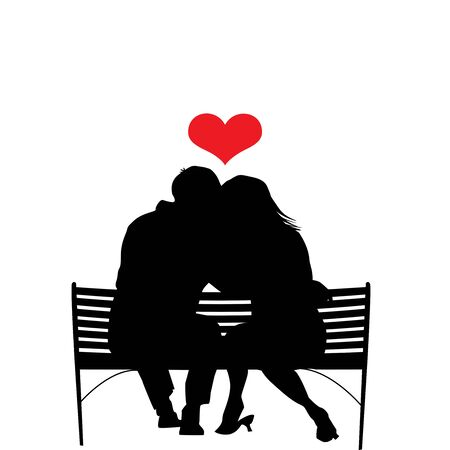 Romance illustration. Silhouette of amorous couple in embrace sitting on bench with red heart above heads isolated on white background. Reklamní fotografie