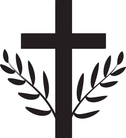 Death symbol. Christian cross with twigs. Illustration
