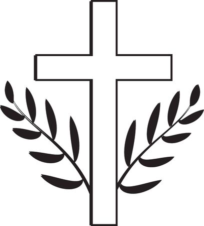 Death symbol. White Christian cross with twigs.