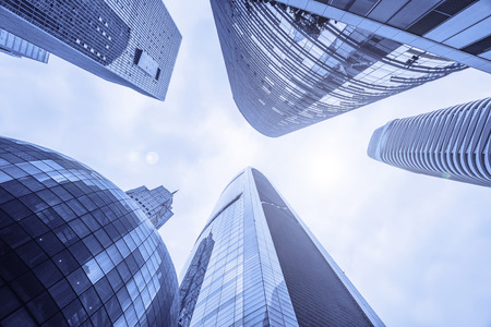 Low angle view of skyscrapers in Guangzhou China.