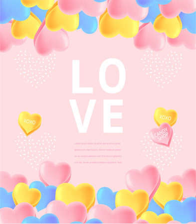 Sweet candy illustration, Valentines day, Couple day event banner, lovely design