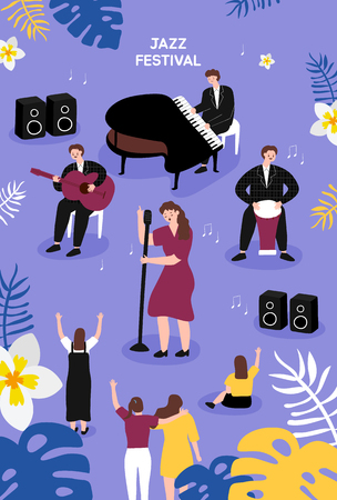 Jazz Festival. Poster template for outdoor festival. Flat cartoon colorful vector illustration. 矢量图像