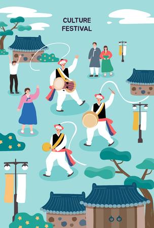 Koreanische traditionelle Illustration. Plakatvorlage für Outdoor-Festival. Bunte Vektorillustration der flachen Karikatur. Vektorgrafik