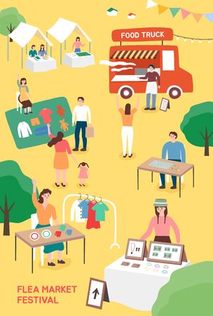Festival del mercado de pulgas. Plantilla de cartel para festival al aire libre. Ilustración de vector colorido de dibujos animados plana.