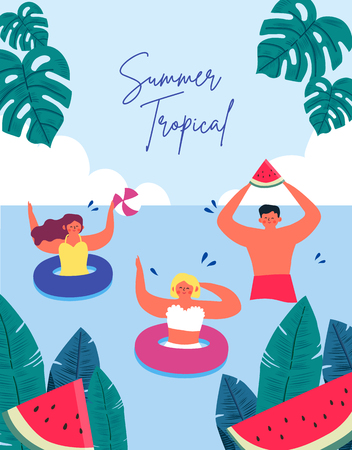 Summer Beach People and Tropical Background. cartoon vector illustration.