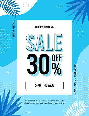 Summer Sale Poster, Web Banner, Pop-Up, banner template design. seasonal discount vector Illustration. Çizim