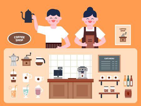 Cafe interior vector Illustration. Cafe menu flat icons set. Çizim