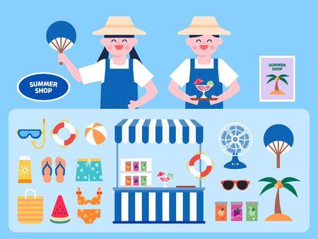 Summer goods shop interior vector Illustration. Summer goods flat icons set.