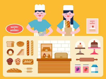 Bakery and dessert shop interior vector Illustration. Bakery and dessert menu.