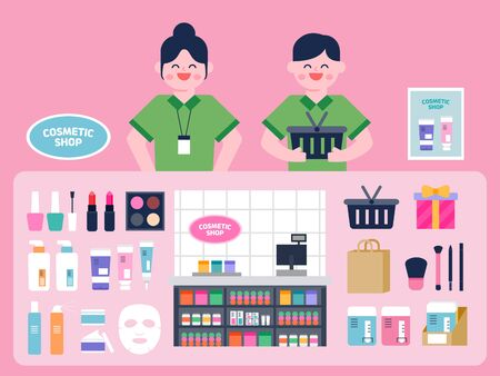 Cosmetic Shop interior vector Illustration. Cosmetic flat icons set.
