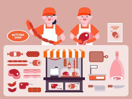 Butcher shop interior vector Illustration. Butcher flat icons set. Çizim