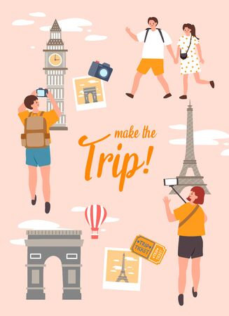 Make the trip. Summer Holiday vector Illustration, template poster.