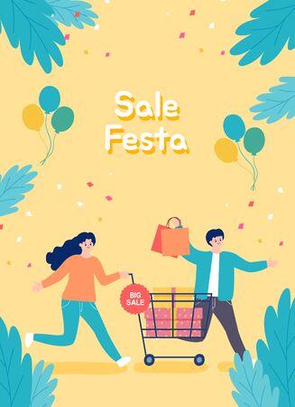 People shopping, Sale Festa illustration. Çizim