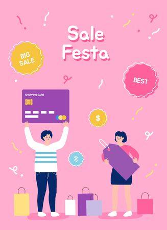People shopping with credit card. Sale Festa illustration. Çizim