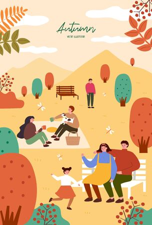 Herbstfest. Plakatvorlage für Outdoor-Festival. Bunte Illustration der flachen Karikatur.