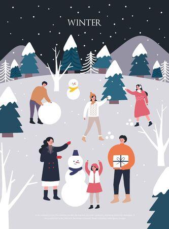 Illustrations de Noël hiver.