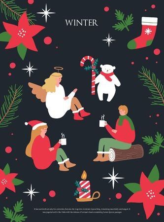 Christmas  Winter illustrations. Stock Illustratie