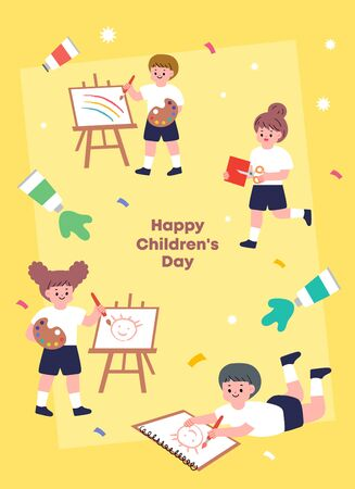 Children's illustration. Illustration for educational activities with friends.