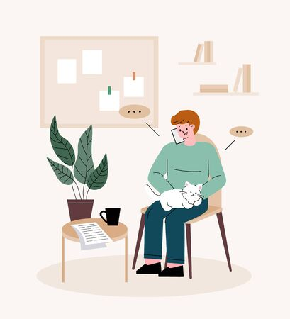 Man freelancer. Man holding a cat, talking on the phone. Telecommuting at home. 向量圖像