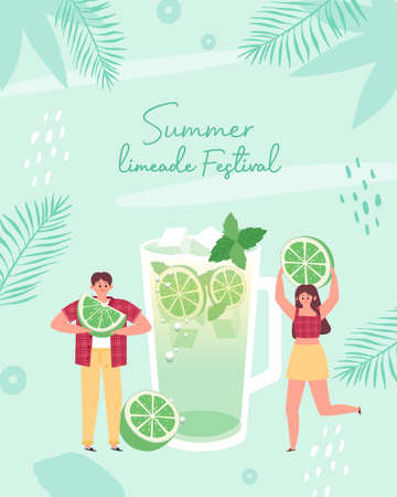 Cool limeade with small people in hot summer. Vector illustration. 向量圖像