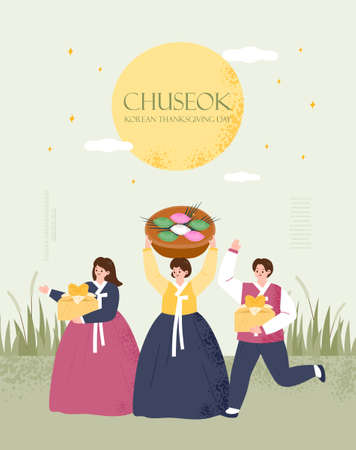 Korea tradition Vector illustration. Chuseok, Happy Korean Thanksgiving Day.