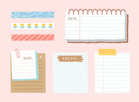 Cute memo template. A collection of striped notes, blank notebooks, and torn notes used in a diary or office. Vetores