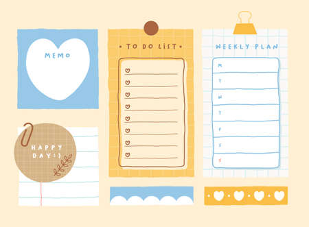 Cute memo template. A collection of striped notes, blank notebooks, and torn notes used in a diary or office.