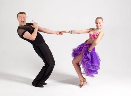 ballroom dancing poster for advertising, purple dress, black pants