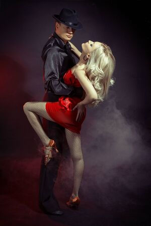 Argentine tango advertising poster, red women