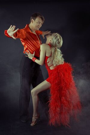 Argentine tango advertising poster, red women Stock Photo