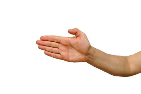 Hand is a sub-brush horizontally or paper from the game white background isolate Stock fotó
