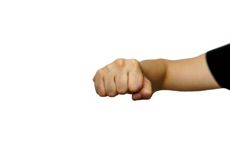 Fist beats white man against white background isolated Stock fotó