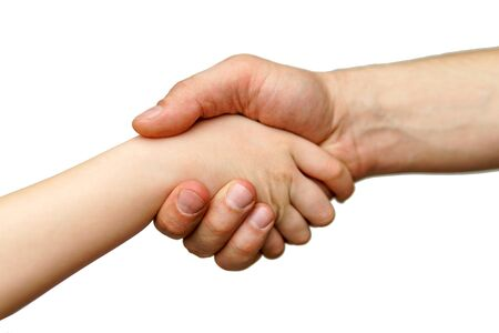 Hands are joined together, greeting, greeted by an isolated white background