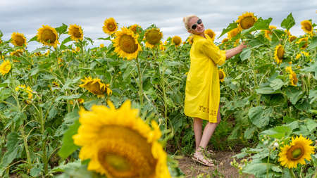 Joyful woman in a yellow dress, young with a charismatic appearance on the background of a field with sunflowers in hot sunny weather