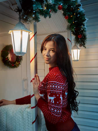Young girl in a sweater at christmas. Vertical photo