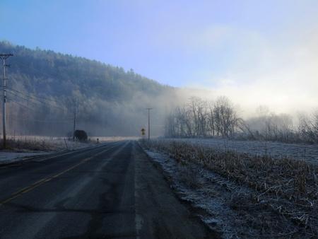 road ahead: Foggy road ahead