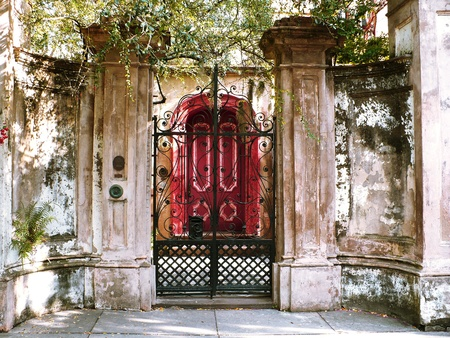 Grand old estate entrance gate and door
