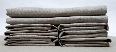 Linen napkins gray folded creatively