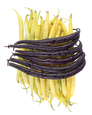 Purple and Yellow Beans isolated on white background  photo