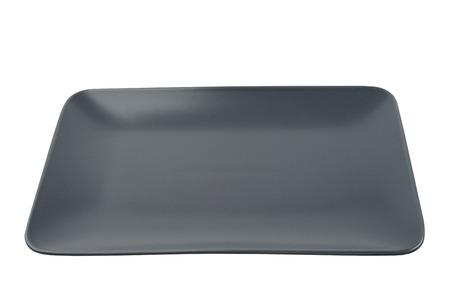 empty rectangular black plate isolated on white background 版權商用圖片