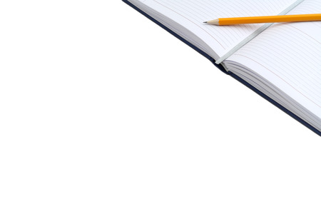 Diary and pencil isolated on white background with free text space. Open a blank white notebook. Personal organizer. photo