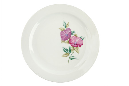 Vintage plate with a picture of a flower isolated. COLDITZ Made in DDR photo