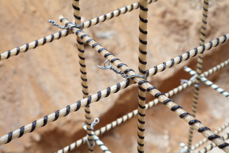 reinforcing: Composite Rebars. Reinforcing cage. Fiberglass reinforcement. Stock Photo