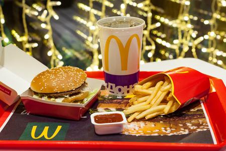 Minsk, Belarus, January 3, 2018: Big Mac hamburger menu in a McDonald's restaurant.